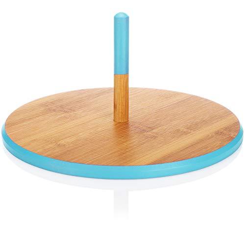com-four® Bandeja de Servir, Cuenco Redondo de Madera de bambú con asa, Ideal para Servir Pasteles, quesos y Snacks, Plato de Servir Ø 33 cm (marrón/Turquesa)