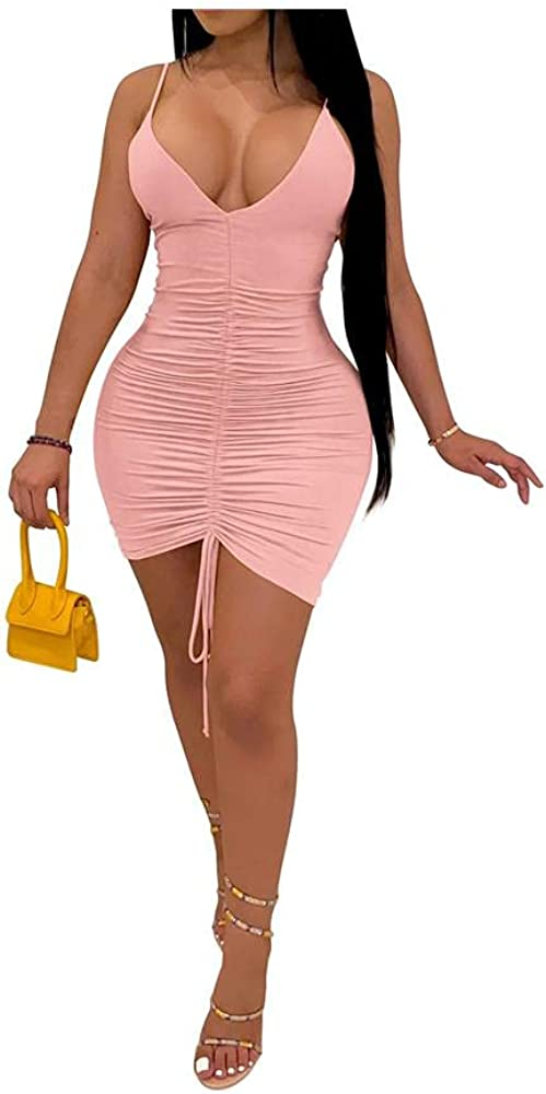 ZOCANIA Women's Sexy Summer Club Ruched Sleeveless Drawstring Mini Bodycon Dress Solid Color Pink XL