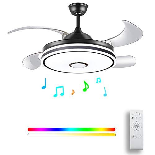 HOREVO 36W Deckenventilator mit Licht und Bluetooth Lautsprecher LED Deckenleuchte Farbwechsel mit Fernbedienung Einstellbare Windgeschwindigkeit Deckenlampe Dimmbar Kronleuchter Wohnzimmer Esszimmer