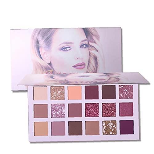 Sanfiyya 18 Colores de Sombra de Ojos Paleta de Maquillaje Mate Brillante Ojo en Polvo fácil de Mezclar la Paleta de Maquillaje de Ojos.
