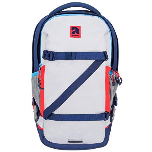 AUDETIC Schulrucksack Mädchen, Jungen, Teenager Blau/Rot Cosmo Ergonomischer Schulranzen aus Recycelten PET Flaschen - Nachhaltiger Rucksack für Schule, Freizeit, Reisen - Wasserabweisend