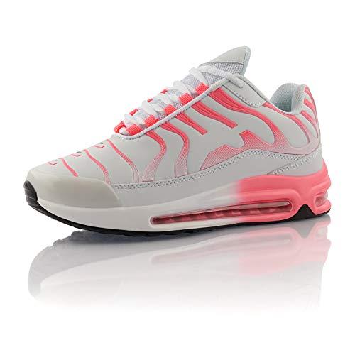 Fusskleidung® Damen Herren Sportschuhe Dämpfung Sneaker leichte Laufschuhe Weiss Pink EU 36