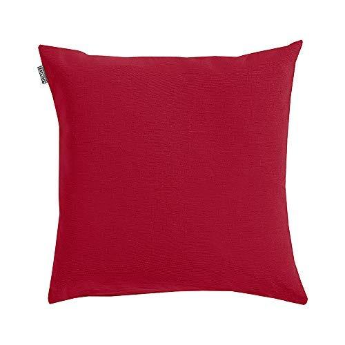 Linum Annabell Kissenhülle D90 dunkelrot 50cm x 50cm, 100% vorgewaschene Baumwolle, Reißverschluss, Kissenbezug, Wohntextilien