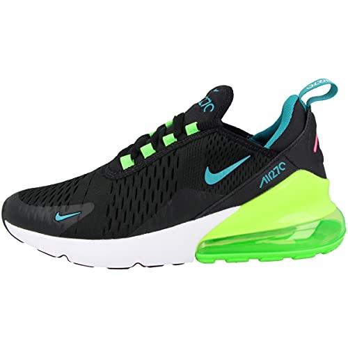 Nike Sneaker unisex per bambini Low Air Max 270 (GS), Black Aquamarine Green Strike White Dm3111 001, 35.5 EU