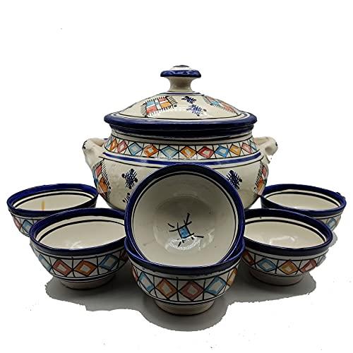 Sopera 6 tazas cerámica terracota marroquí sopa fondue cocina 2505210915