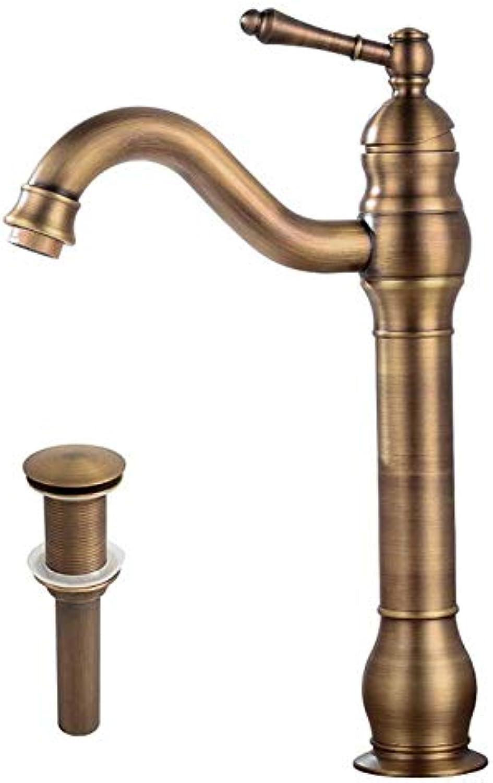 Hjbds antiken 360 ° drehbaren wasserhahn mit abflussrohr messing einhand handwaschbecken waschbecken antiken messing bad wasserhahn wasserhahn