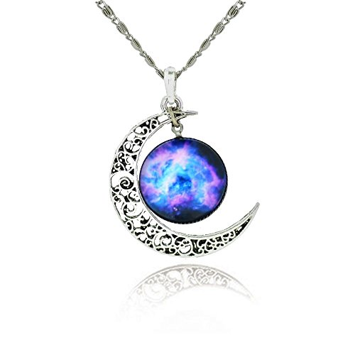 Galaxy & Crescent Cosmic Moon Pendant Necklace, Purple Glass, 17.5'' Chain, Great Gift for Women