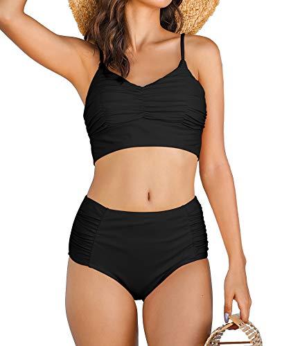 LA ORCHID Laorchid Damen Zweiteiliger Bikini Set Push up Zweiteiler Badeanzug Damen high Waist Frauen sexy Bikini Tankini Sommer Beachwear Schwarz XXL