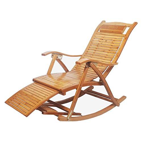 HEMFV Silla de Escritorio ergonómica Mecedora Plegable Sillón reclinable Rocker Cubierta Que se relaja Sunloungers Asiento de bambú