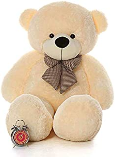 Click4Deal Soft Teddy Bear With Neck Bow - 4 Feet (122 Cm,Cream)
