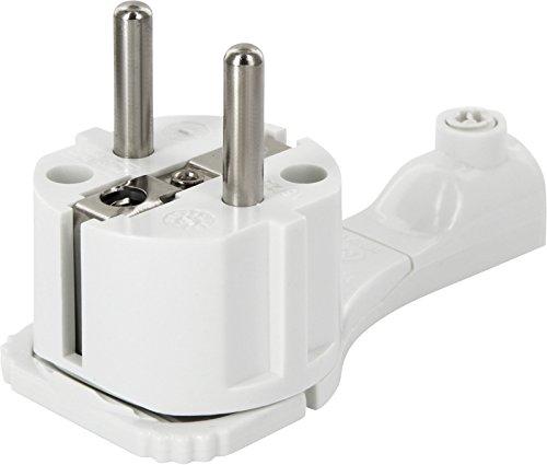 Superslim Schutzkontakt-Winkelstecker - extraflach 8mm - mit Klappgriff und Knickschutz - 250V 16A - für Kabel bis 3x1,5 mm² - weiß