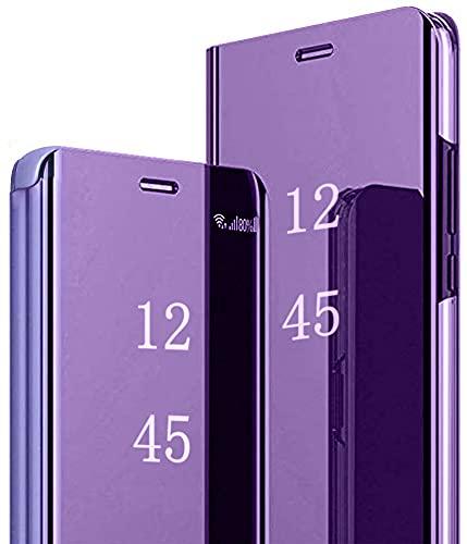 Hülle für Samsung Galaxy S20 FE 5G/S20 Lite Spiegel Handyhülle, Samsung Galaxy S20 FE Flip Schutzhülle Clear View Ledertasche Handy Mirror Standfunktion Tasche 360 Grad Stoßfest Hülle Cover, Lila