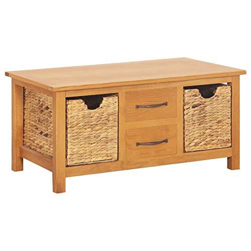 Aparador, armario auxiliar de cocina con 2 cajones y 2 cestas extraíbles de madera maciza de roble y jacinto de agua 88 x 53 x 43 cm
