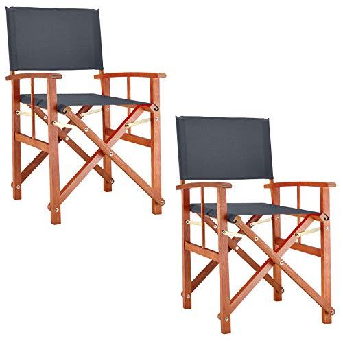 Deuba 2X Gartenstuhl Cannes FSC-zertifiziertes Eukalyptusholz faltbar Klappstuhl Holz Stuhl Regiestuhl Anthrazit