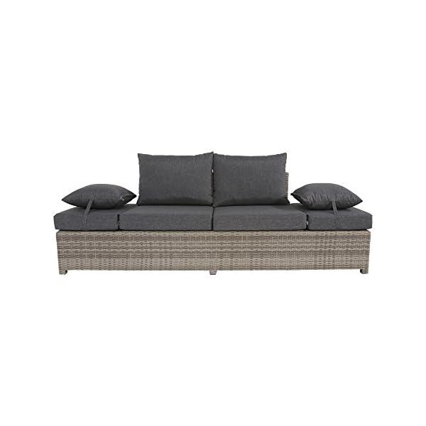 lifestyle4living Gartenbank 2 Sitzer aus Polyrattan Geflecht grau inkl. Kissen. Die klappbare Bank ist wetterfest, ideal…