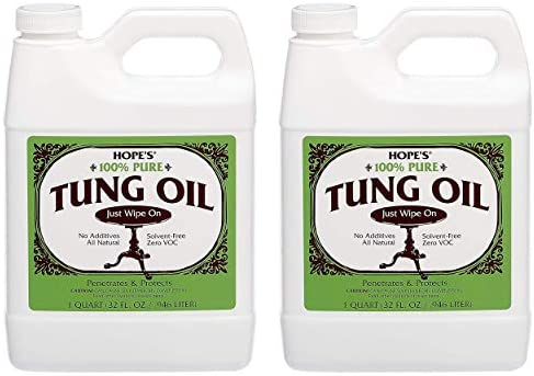 HOPE'S 100% Pure Tung Oil, Wood Finish for Furniture & Floors, All Natural Moisture Resistant Sealer, One, 16 Fl Oz