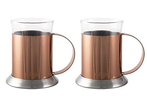 La Cafetière à Piston Tasses en Verre, Lot de 2, Acier Inoxydable, Cooper, 2.05 x 5.95 x 5.05 cm