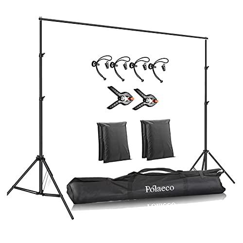 Soporte para Fondos 2x3 Metros Ajustable Sistema de Soporte de Estudio con 2+4 Clips y 2 Bolsas Arena para Fotografía de Producto, Retrato y Grabación de Video