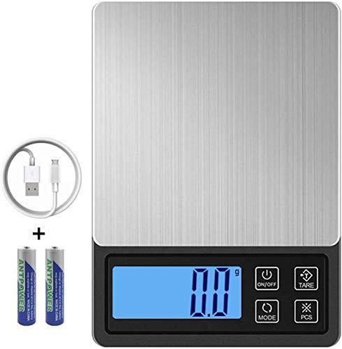 ZORSEN Báscula Digital para Cocina USB Recargable, 3000g/0.1g Balanza de Cocina de Acero Inoxidable Balanza de Alimentos Multifunción, Balanza de Precision con Pantalla LCD y...