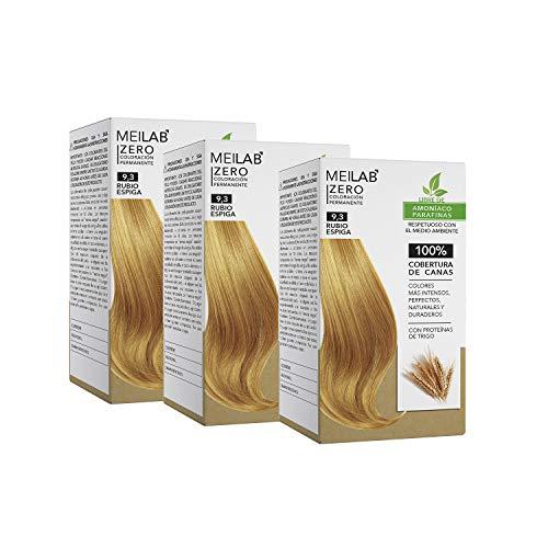 MEILAB - Tinte permanente sin amoniaco - Pack de 3 unidades - Color Rubio muy claro dorado #9-3
