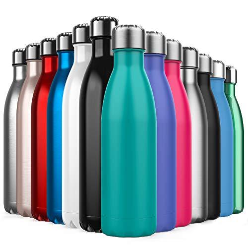 BICASLOVE Botella de Agua de Acero Inoxidable,Diseño de Pared Doble,Boca EstáNdar,para Correr,Gimnasio,Yoga,Ciclismo,500ML,Azul Turquesa