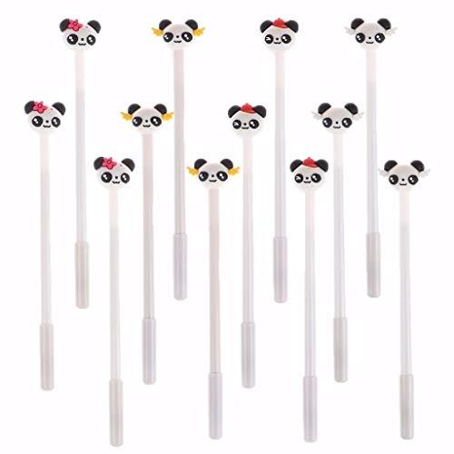 OBANGONG 12 Pcs 0.5mm Cute Kawaii Animal Panda Shaped Pens Black Ink Gel Pens Fine Point Roller Pens