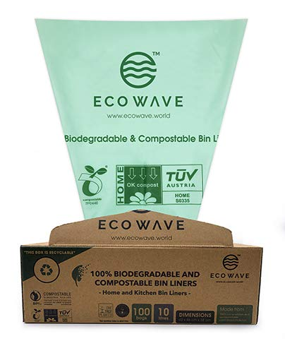ECO WAVE 100% Biodegradable and Compostable Bin Liners, 10 litres, 100 Bags, EN 13432 Certified