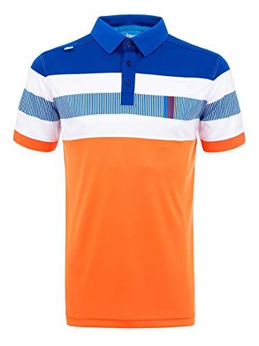 Bunker Mentality CMAX Switch Tech Design Golf Polo Shirt - Orange/Electric Blue - Trendy, Modern, Feuchtigkeitsableitend, Atmungsaktiv, Leicht, Kurzarm, Sonnenschutz XL Orange