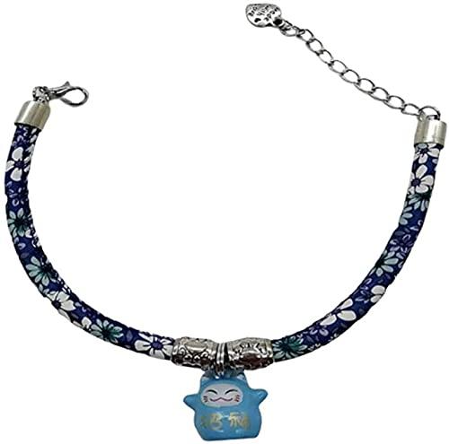 QIXIAOCYB Collar Elegante del Cuello Hecho a Mano de la Flor de la Mascota Collar con Collar con Cuello Ajustable de Campana Gato Adorable Adorable decoración (Color : Blue, Size : Xsmall)