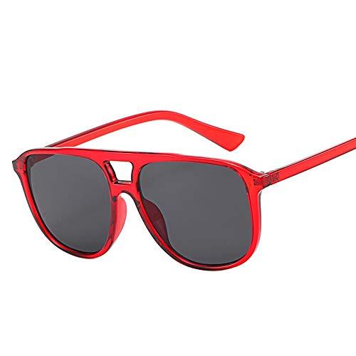 HAOMAO Mujeres/Hombres Gafas de Sol cuadradas Retro de Doble Haz Diseñador de la Marca Puntos Gafas Vintage Uv400 Redgray