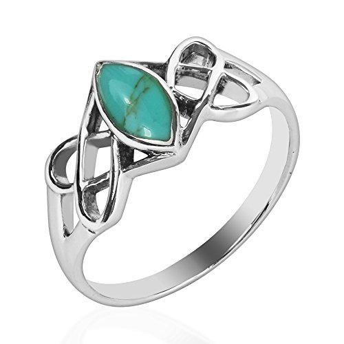 AeraVida Celtic Trinity Knot Marquise Simulated Turquoise .925 Sterling Silver Ring (8)