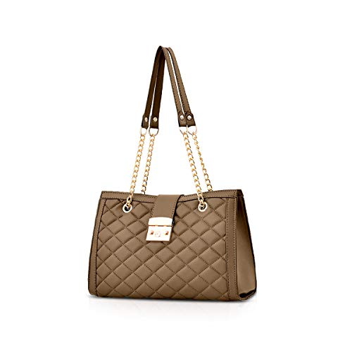 NICOLE & DORIS Woman Chain Handbags Trending Handbags for Ladies Quilted Gold Chain Handle Bags Luxury Handbags PU Leather Khaki
