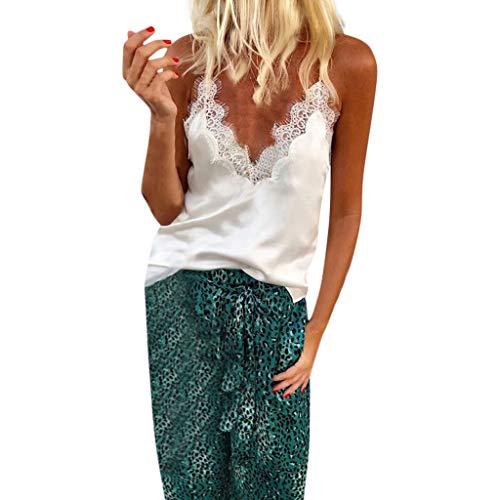 Camiseta de mujer Transwen sexy, cuello en V, encaje, patchwork, sin mangas, elegante, verano, sin mangas Blanco S