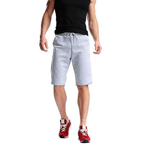 Daysing Badehose Herren m Badehose Herren mit innenhose Strandhose männer Vintage Shorts Leinenhose Stoffhose Sommer flanellhosen sportliche Sommer(Grau,XX-Large)
