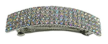 Large Rectangular Bar Barrette 5 Rows of Sparkling Rhinestone in crystal AB Color 0004cAB