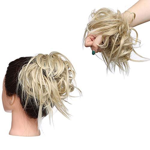 XXL Postiche Cheveux En Caoutchouc Chouchou Chignons VOLUMINEUX Bouclés Ou Chignon Décoiffé Extension a clip Cheveux Naturel Blond de cendre à blond de blanchiment