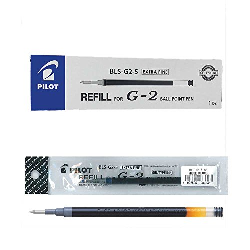 Pilot - Ricariche per penna G205 (confezione da 12 pezzi), colore: Nero