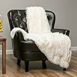Chanasya Super Soft Fuzzy Shaggy Faux Fur Throw Blanket - Chic Design Snuggly Plush Lightweight with Fluffy Reversible Sherpa for Couch Living Room Bedroom and Home Décor (60x70 Inches) Ivory White
