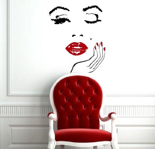 Wandtattoo Friseursalon Schönheitssalon Friseurladen Gesicht Nägel Lippen Logo Haar Maniküre Spas Mädchen Frisur Wandaufkleber Vinyl Aufkleber Wandsticker Fototapete Dekoration für Zuhause