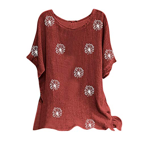 MRULIC Damen Leinenbluse Kurzarm Rundhals Drucken Sommer Pullover Blumen Tunika T-Shirt Vintage Basic Tops Geschenk Zum Muttertag(A9-Wein,S)