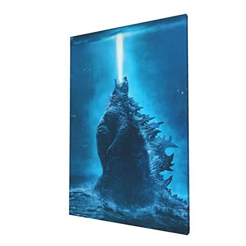 Godzilla VS King Kong Poster 2021 - Póster de la película impresa de cómics, lienzo para pared, decoración de dormitorio infantil, color azul y fresco, regalo de cumpleaños para amigos