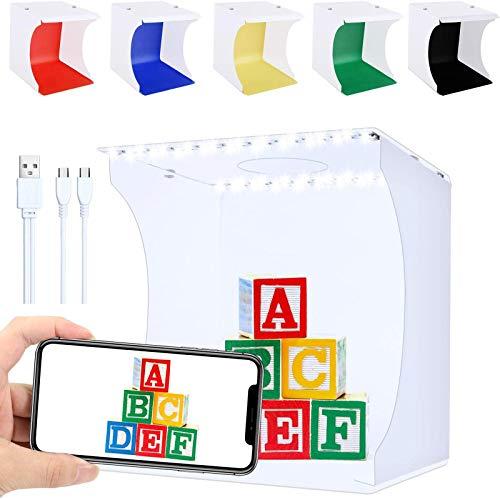 Fotobox, Fotozelt Lichtzelt 20x20 cm mit 140 LED Mini Mobiles tragbare Tischplatte Faltbare Fotografie Leuchtkasten, Lichtwürfel Fotostudio mit 6...