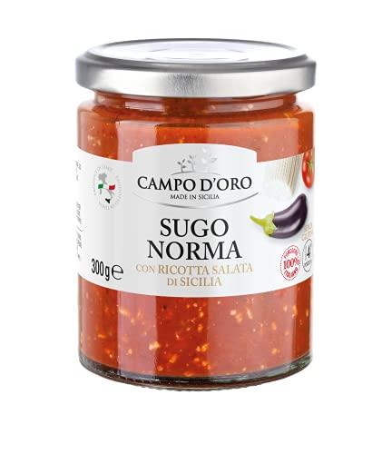 CAMPO D'ORO | SUGO NORMA 300 GR | Specialità siciliane per ricette, sugo pronto sugo alla norma con ricotta salata di Sicilia. 100% Made in Italy