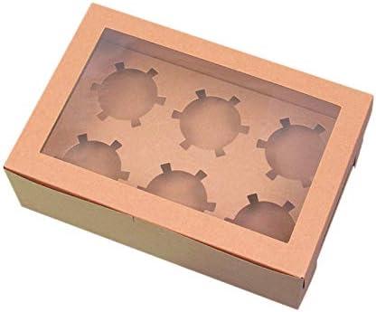 Tiamu 20 stuks Open Window Cup Cake Box 6 Kraft Papier Gebak Puffin Box Bakken Gebak Box