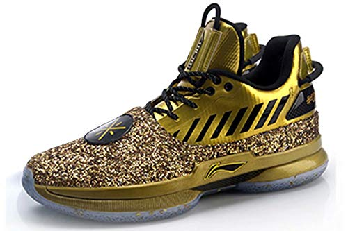 LI-NING Wow 7 Wade Men Basketball Shoes One Last Dance Limited Edition Sports Male Shoes Black Gold ABAN079-27 US 14