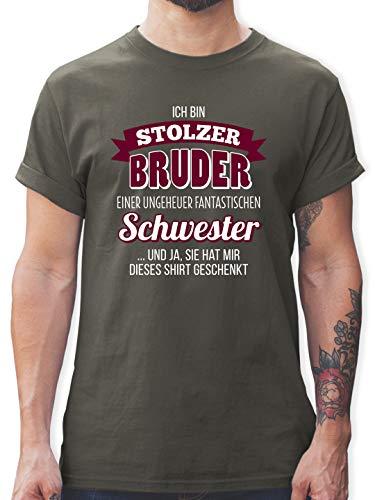 Bruder & Onkel - Ich Bin stolzer Bruder - M - Dunkelgrau - stolzer Bruder Einer - L190 - Tshirt Herren und Männer T-Shirts