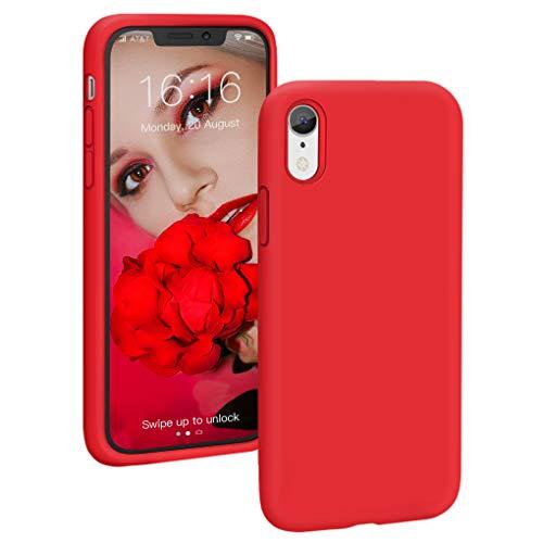 PROBIEN Coque pour iPhone XR, Silicone Liquide Case Housse Anti-Choc Anti-Rayures Protection Complète Cover Étui de iPhone XR-Rouge Vif
