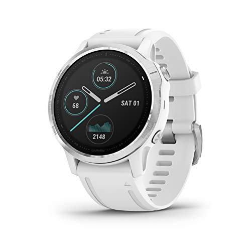 Garmin Fenix 6S Premium Multisport GPS Watch SmallerSized Heat and Altitude Adjusted V02 Max Pulse Ox Sensors and Training Load Focus 42mm White