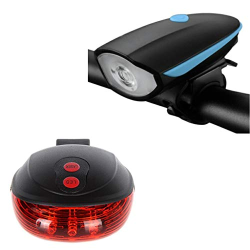 FASTPED® Combo of Rechargeable Bike Front Horn and Light 120 DB with Super Bright 250 Lumen Light and LED Bicycle Rear Tail Light