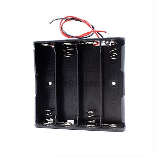 CLJ-LJ 14.8V 4 * 18650 soporte de la batería caja de la caja con cables - Negro